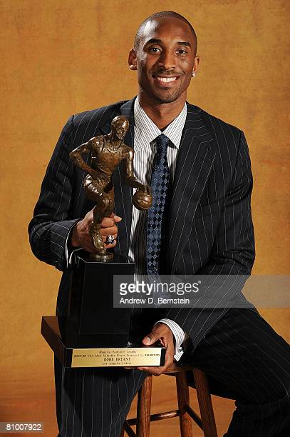Kobe Bryant of the Los Angeles Lakers poses for a portrait at the press conference for the 200708 NBA Most Valuable Player Award presented by Kia...