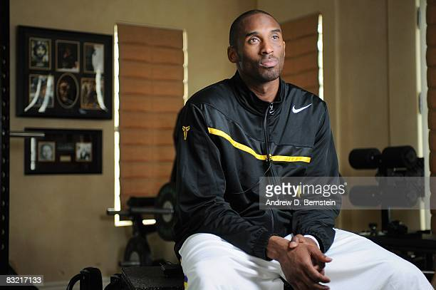 Kobe Bryant of the Los Angeles Lakers poses for a portrait during a photo session on March 29 2008 at his home in Newport Beach California NOTE TO...