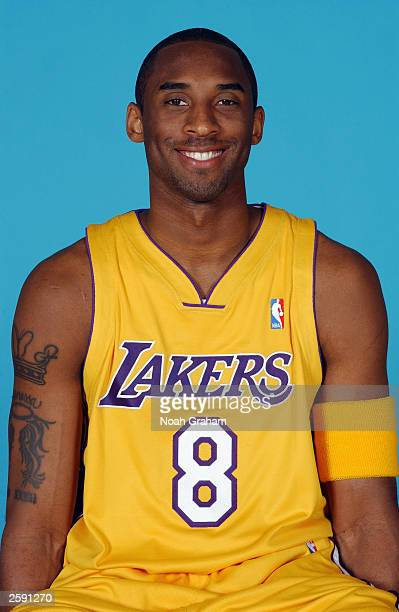 Kobe Bryant of the Los Angeles Lakers poses for a portrait during NBA Media Day at the Lakers Practice Facility on October 10 2003 in El Segundo...