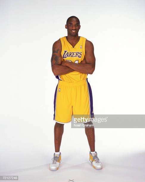 Kobe Bryant of the Los Angeles Lakers poses for a portrait during NBA Media Day at the Toyota Training Center on October 2 2006 in El Segundo...