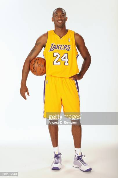 Kobe Bryant of the Los Angeles Lakers poses for a portrait during NBA Media Day on September 29 2008 at the Toyota Sports Center in El Segundo...