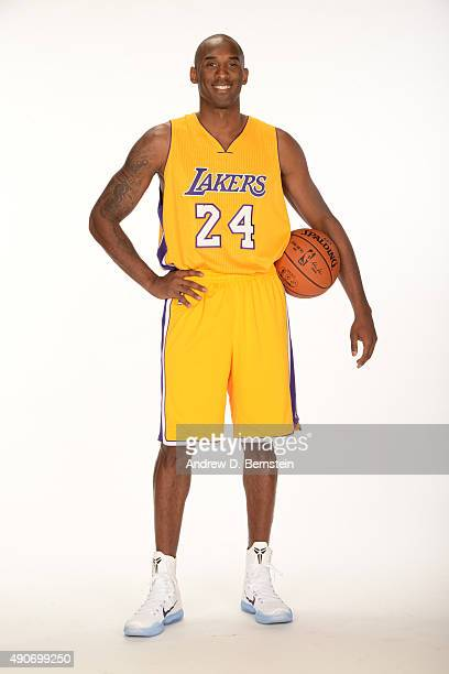 Kobe Bryant of the Los Angeles Lakers poses for a portrait during media day at Toyota Sports Center on September 28 2015 in El Segundo California...