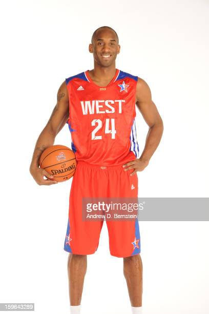 Kobe Bryant of the Los Angeles Lakers poses for a portrait in his 2013 AllStar jersey on September 11 2013 at Toyota Sports Center in El Segundo...
