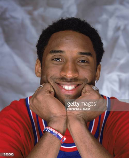 Kobe Bryant of the Los Angeles Lakers poses for a portrait wearing a classic Philadelphia 76ers jersey during the 2002 NBA AllStar Portraits on...
