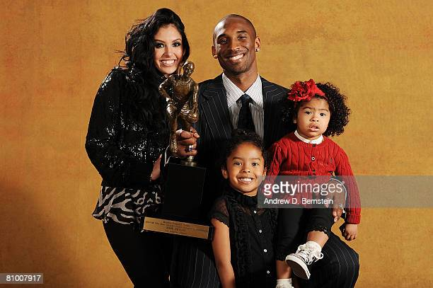 Kobe Bryant of the Los Angeles Lakers poses for a portrait with his family wife Vanessa daughters Natalia and Gianna at the 200708 NBA Most Valuable...