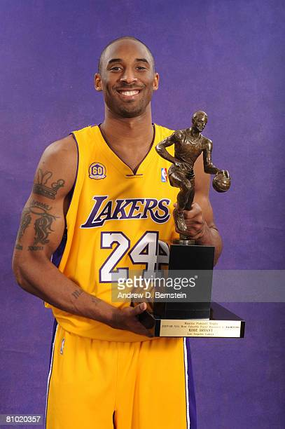 Kobe Bryant of the Los Angeles Lakers poses for a portrait with the 200708 NBA Most Valuable Player award prior to Game Two of the Western Conference...