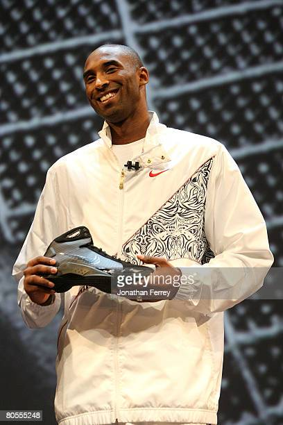 Kobe Bryant of the Los Angeles Lakers poses with the newly unveiled Nike Hyperdunk shoe at the Nike Beijing 08 Innovation Summit on April 7, 2008 at...