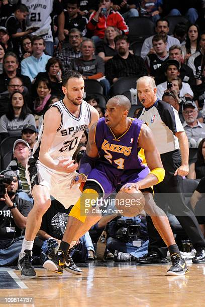 Kobe Bryant of the Los Angeles Lakers posts up against Manu Ginobili of the San Antonio Spurs at ATT Center on March 6 2011 in San Antonio Texas NOTE...