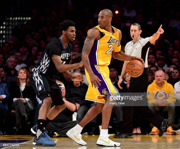 Kobe Bryant of the Los Angeles Lakers posts up Andrew Wiggins of the Minnesota Timberwolves during a 112111 Laker loss at Staples Center on October...