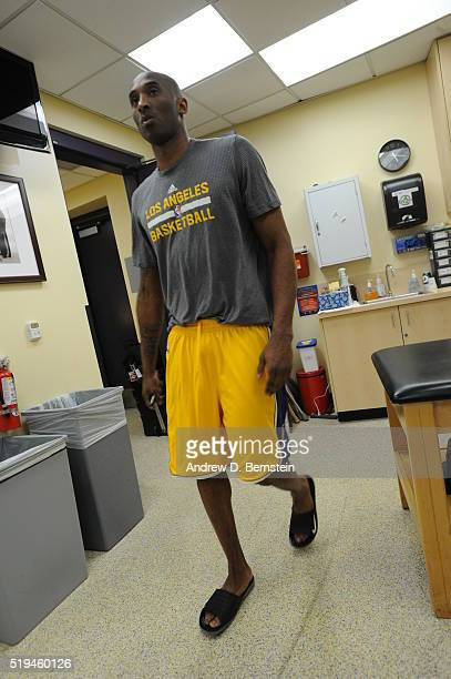 Kobe Bryant of the Los Angeles Lakers prepares before the game against the Los Angeles Clippers on April 6 2016 at STAPLES Center in Los Angeles...
