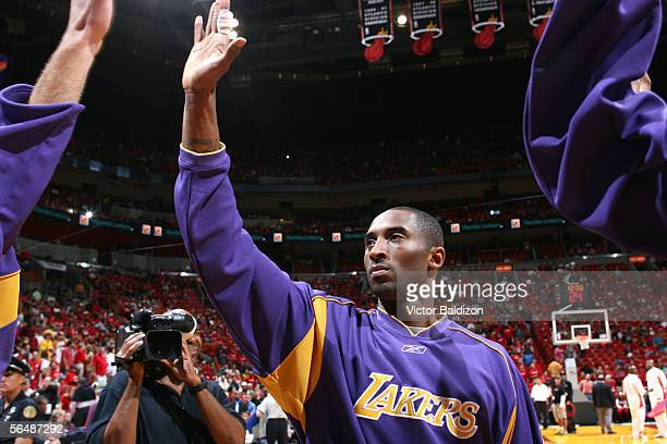 Kobe Bryant of the Los Angeles Lakers prepares for the game against the Miami Heat on December 25, 2005 at American Airlines Arena in Miami, Florida....