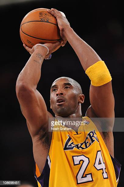 Kobe Bryant of the Los Angeles Lakers prepares to shoot a free throw against the Sacramento Kings during a game on January 28 2011 at the Staples...