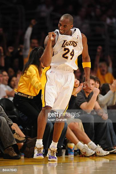 Kobe Bryant of the Los Angeles Lakers pumps his fist after making a basket during a game against the San Antonio Spurs at Staples Center on January...