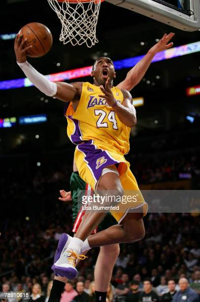Kobe Bryant of the Los Angeles Lakers puts a shot up against the Milwaukee Bucks at Staples Center January 11 2008 in Los Angeles California NOTE TO...