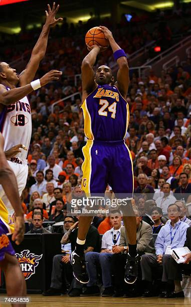Kobe Bryant of the Los Angeles Lakers puts a shot up in the first half against the Phoenix Suns in Game Five of the Western Conference Quarterfinals...