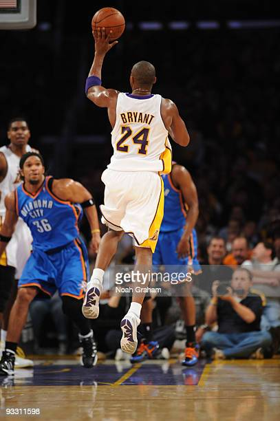 Kobe Bryant of the Los Angeles Lakers puts up a left-handed shot against the Oklahoma City Thunder at Staples Center on November 22, 2009 in Los...