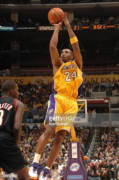 Kobe Bryant of the Los Angeles Lakers puts up a shot against the Portland Trail Blazers at Staples Center March 16 2007 in Los Angeles California...