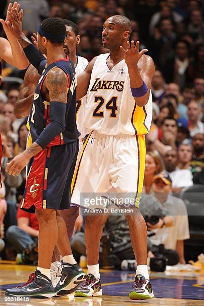 Kobe Bryant of the Los Angeles Lakers questions a call during a game against the Cleveland Cavaliers at Staples Center on December 25 2009 in Los...