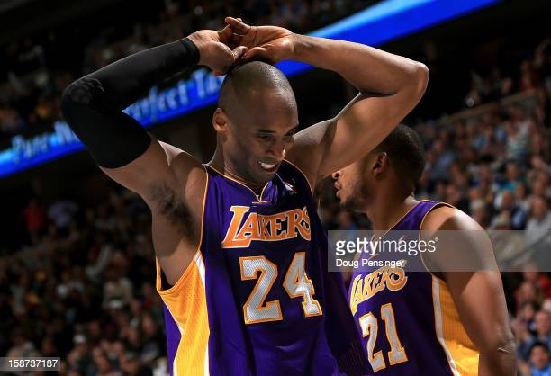 Kobe Bryant of the Los Angeles Lakers reacts after Chris Duhon of the Los Angeles Lakers was called for a foul against the Denver Nuggets at Pepsi...