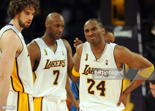 Kobe Bryant of the Los Angeles Lakers reacts after colliding with Hedo Turkoglu of Orlando Magic during game two of the NBA finals at the Staples...