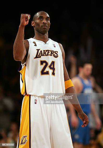Kobe Bryant of the Los Angeles Lakers reacts after defeating the Orlando Magic 10196 in overtime in Game Two of the 2009 NBA Finals at Staples Center...