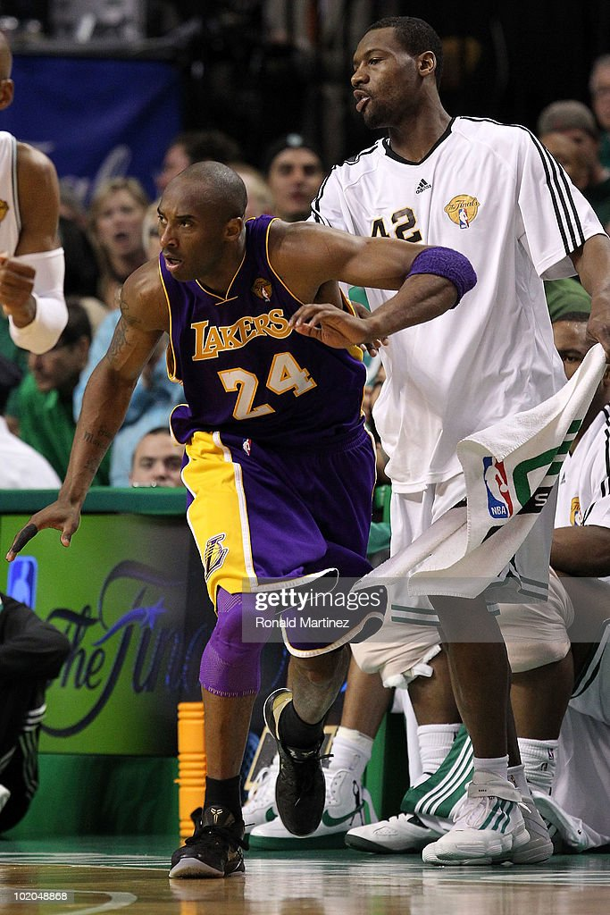 Kobe Bryant #24 of the Los Angeles Lakers reacts after he made a basket against Tony Allen #42 of the Boston Celtics during Game Five of the 2010 NBA Finals on June 13, 2010 at TD Garden in Boston, Massachusetts.