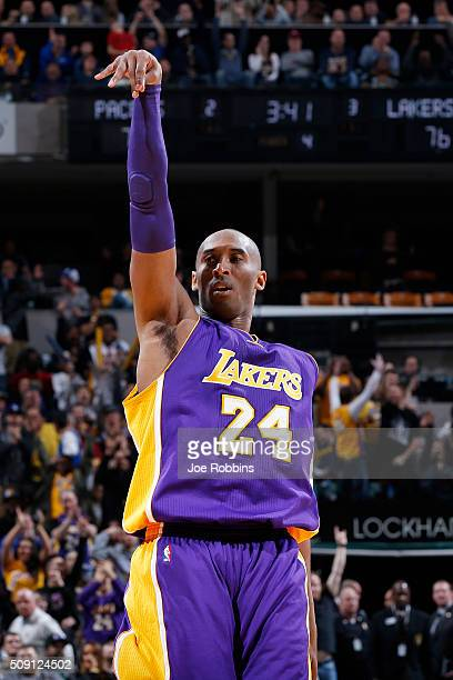 Kobe Bryant of the Los Angeles Lakers reacts after making a shot in the fourth quarter of the game against the Indiana Pacers at Bankers Life...