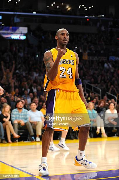 Kobe Bryant of the Los Angeles Lakers reacts after scoring his second basket against the New Orleans Hornets at Staples Center on March 31 2012 in...
