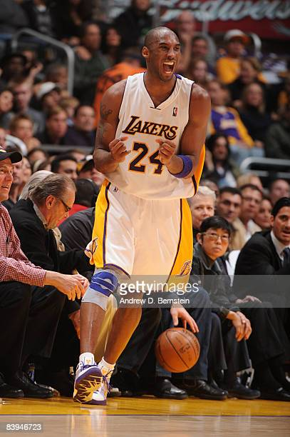 Kobe Bryant of the Los Angeles Lakers reacts during the game against the Milwaukee Bucks at Staples Center on December 7 2008 in Los Angeles...