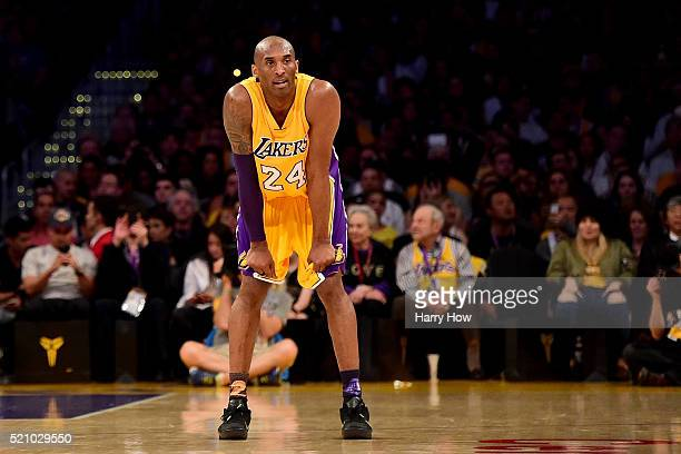 Kobe Bryant of the Los Angeles Lakers reacts in the first half while taking on the Utah Jazz at Staples Center on April 13, 2016 in Los Angeles,...