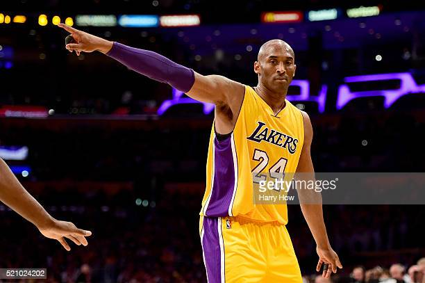 Kobe Bryant of the Los Angeles Lakers reacts in the first quarter against the Utah Jazz at Staples Center on April 13 2016 in Los Angeles California...
