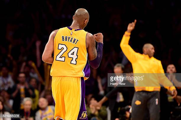 Kobe Bryant of the Los Angeles Lakers reacts in the fourth quarter while taking on the Utah Jazz at Staples Center on April 13 2016 in Los Angeles...