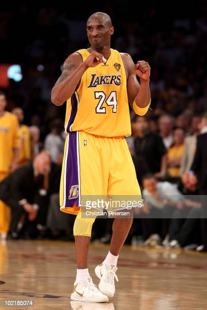 Kobe Bryant of the Los Angeles Lakers reacts in the second half against the Boston Celtics Game Seven of the 2010 NBA Finals at Staples Center on...