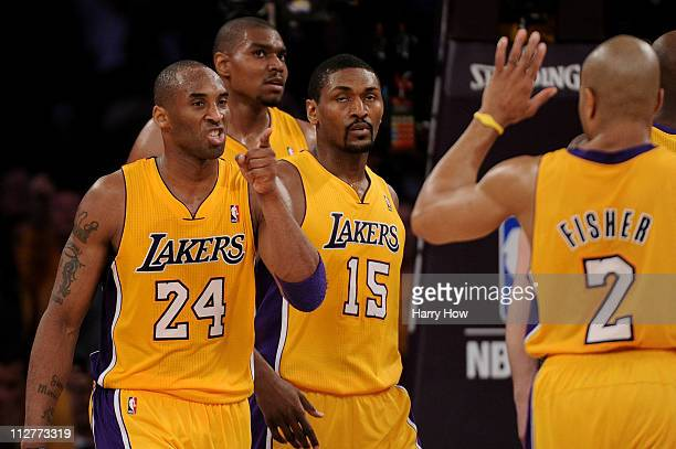 Kobe Bryant of the Los Angeles Lakers reacts in the second half while taking on the New Orleans Hornets in Game Two of the Western Conference...