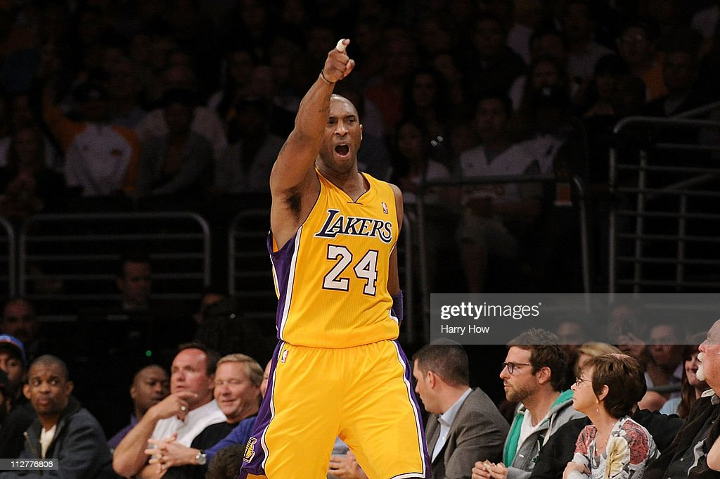 Kobe Bryant #24 of the Los Angeles Lakers reacts in the second quarter while taking on the New Orleans Hornets in Game Two of the Western Conference Quarterfinals in the 2011 NBA Playoffs on April 20, 2011 at Staples Center in Los Angeles, California.