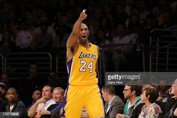 Kobe Bryant of the Los Angeles Lakers reacts in the second quarter while taking on the New Orleans Hornets in Game Two of the Western Conference...