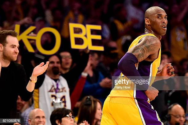 Kobe Bryant of the Los Angeles Lakers reacts in the third quarter against the Utah Jazz at Staples Center on April 13, 2016 in Los Angeles,...