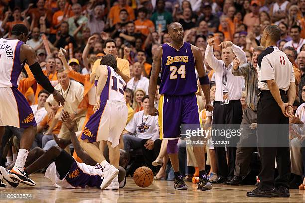 Kobe Bryant of the Los Angeles Lakers reacts to a call against him in the fourth quarter of Game Four of the Western Conference Finals against the...