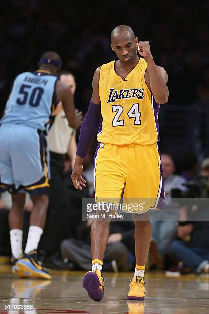 Kobe Bryant of the Los Angeles Lakers reacts to a foul during the first half of a game against the Memphis Grizzlies at Staples Center on March 22...