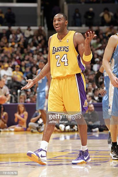 Kobe Bryant of the Los Angeles Lakers reacts to a play during the NBA game against the Denver Nuggets on January 5 2007 at Staples Center in Los...