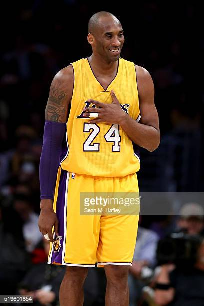 Kobe Bryant of the Los Angeles Lakers reacts to making a shot during a game between the Los Angeles Lakers and Memphis Grizzlies at Staples Center on...