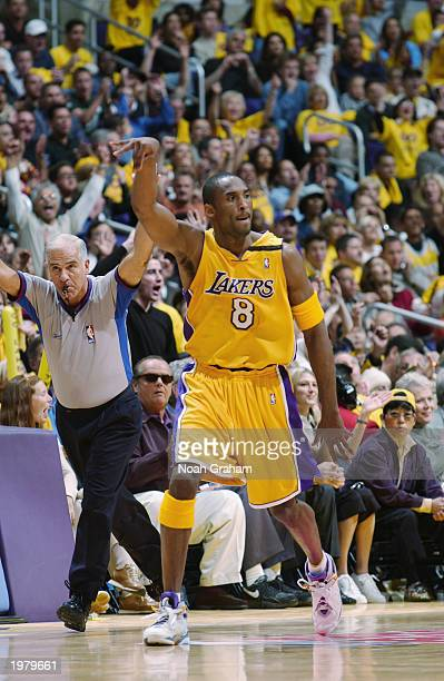 Kobe Bryant of the Los Angeles Lakers reacts to play against the Minnesota Timberwolves in Game six of the Western Conference Quarterfinals during...
