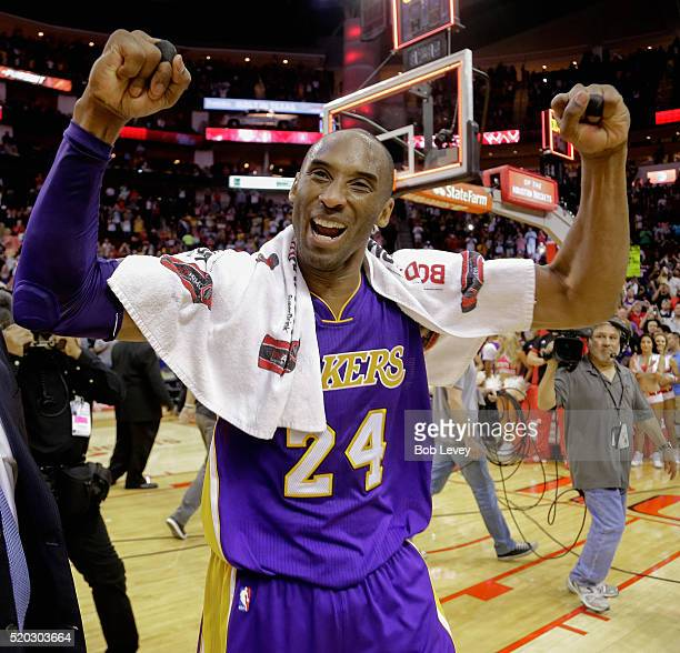 Kobe Bryant of the Los Angeles Lakers reacts to the crowd as he leaves the court at Toyota Center on April 10 2016 in Houston Texas