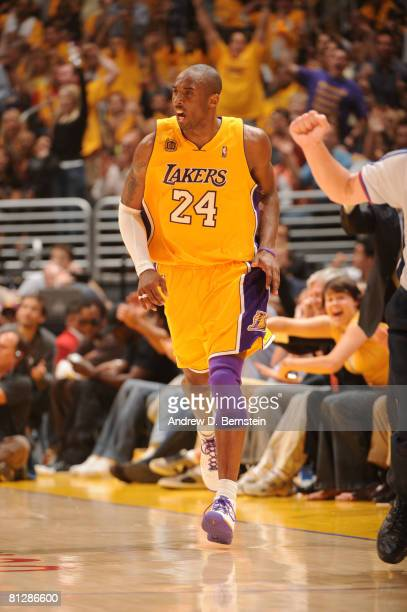 Kobe Bryant of the Los Angeles Lakers reacts while taking on the San Antonio Spurs in Game Five of the Western Conference Finals during the 2008 NBA...