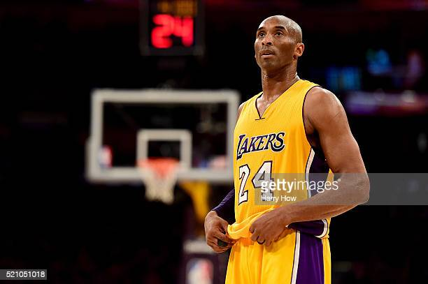 Kobe Bryant of the Los Angeles Lakers reacts while taking on the Utah Jazz at Staples Center on April 13, 2016 in Los Angeles, California. NOTE TO...
