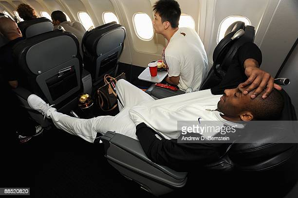 Kobe Bryant of the Los Angeles Lakers relaxes on the team plane on June 15 2009 after the Lakers defeated the Orlando Magic in the NBA Finals NOTE TO...
