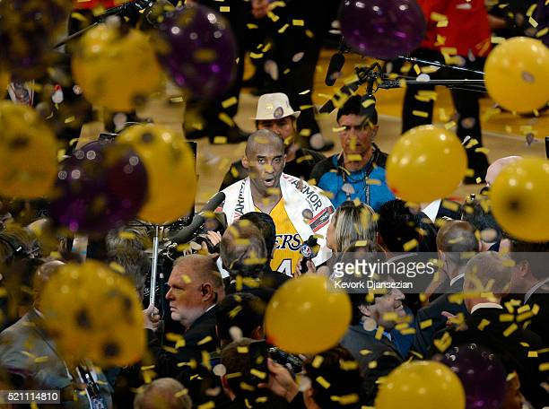 Kobe Bryant of the Los Angeles Lakers retires from basketball after scoring 60 points against the Utah Jazz at Staples Center on April 13 2016 in Los...