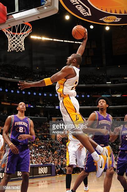 Kobe Bryant of the Los Angeles Lakers rises for a dunk against the Phoenix Suns at Staples Center on November 14 2010 in Los Angeles California NOTE...