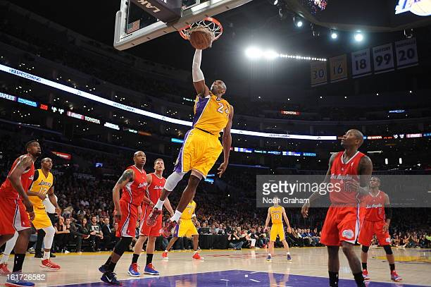 Kobe Bryant of the Los Angeles Lakers rises for a dunk against the Los Angeles Clippers at Staples Center on February 14 2013 in Los Angeles...