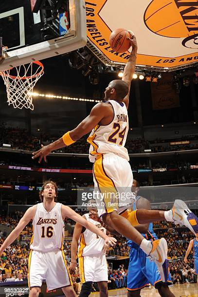 Kobe Bryant of the Los Angeles Lakers rises for a dunk against the Oklahoma City Thunder in Game One of the Western Conference Quarterfinals during...